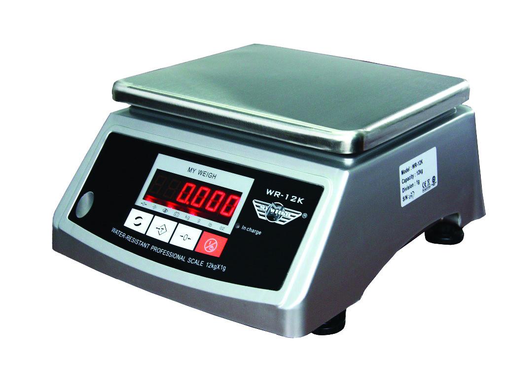 Vandafvisende vægt My Weigh WR12K (12000 gr. x 1 gr.) Vejeplade ( 210x180 mm)